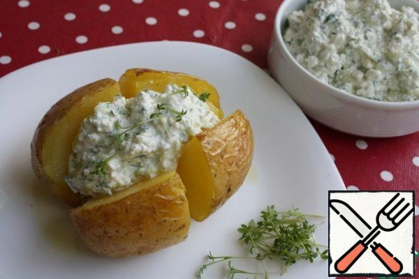 Boil or bake potatoes and serve with Gzic.