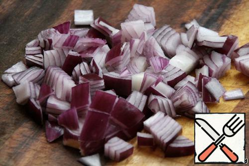 Onions cut into cubes.