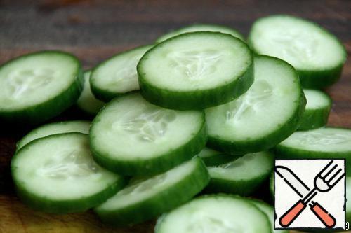 Cucumbers cut into rings.