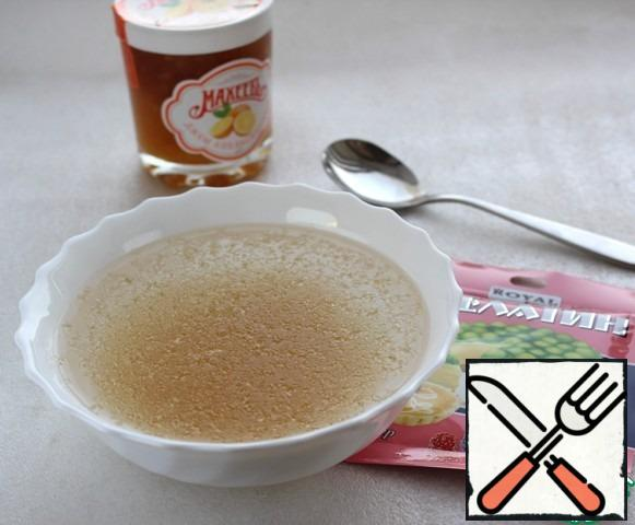Gelatin pour cold water, let it swell, then heat, but do not boil.
