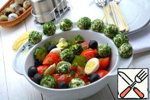Vegetable Salad with Cheese Balls Recipe