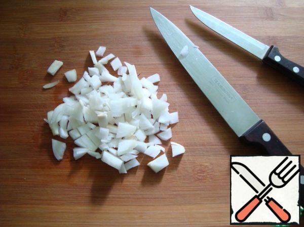 Onions cut finely.