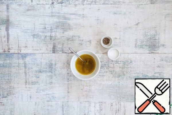 For dressing, mix olive oil with lemon juice, salt and pepper.