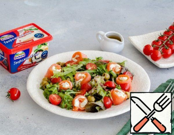 Green Salad with Salmon and Cheese Rolls Recipe