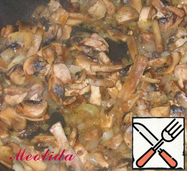 Fry mushrooms with onions until Golden brown, add salt and pepper to taste.
