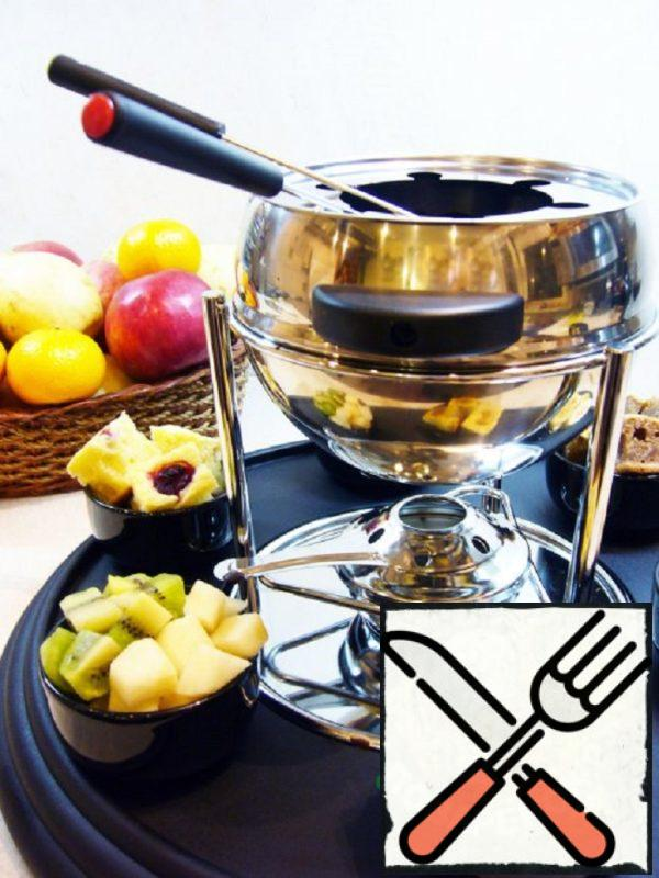 Chocolate Fondue with Cottage Cheese Biscuit and Fruit Recipe