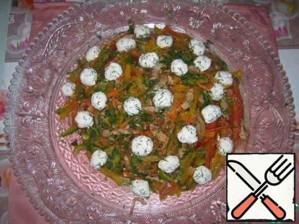 "Salad ""Pyramid with Meat, Pepper and Cheese Balls"" Recipe"
