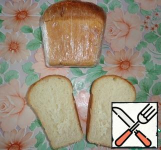 I took a small loaf of white bread. Cut in half.