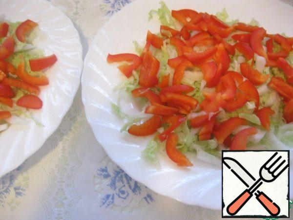 On top-chopped bell pepper.