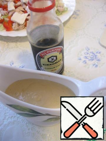 For dressing-sauce mix mayonnaise, soy sauce, broth and crushed garlic. Mayonnaise you can try to replace sour cream.