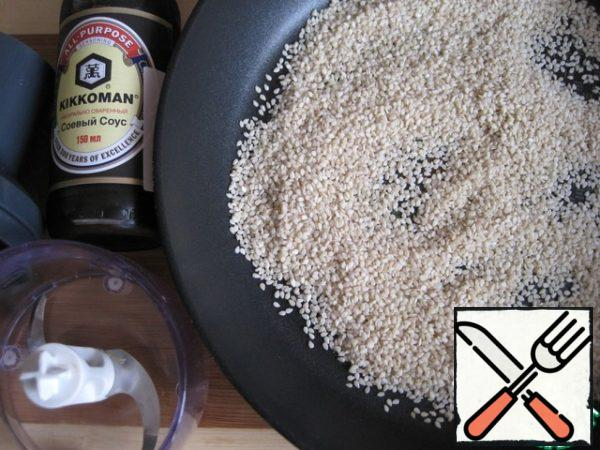 For tahina (sesame paste): in a dry pan, dry and lightly gilt the sesame, stirring constantly.