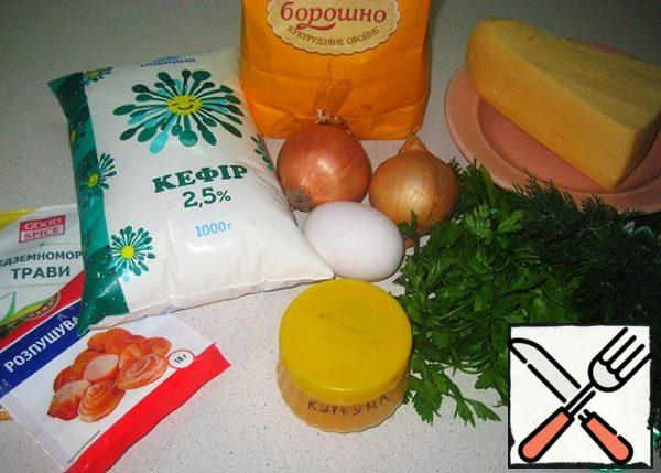 Necessary ingredients for the cake.