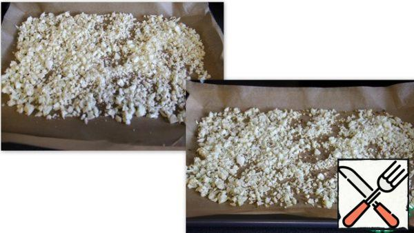 Spread the chopped cauliflower on a baking sheet covered with parchment paper and put in a preheated 220C (400F) oven for 12-15 minutes.