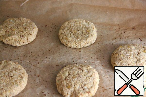 Put on baking sheet the laid parchment paper and put in a preheated to 220 C (400 F) oven for 20 minutes. Ready cutlets can be prepared in advance and stored in the refrigerator.