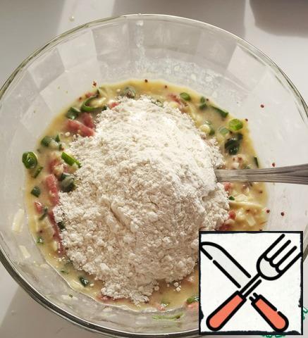 Add flour and baking powder, stir.
