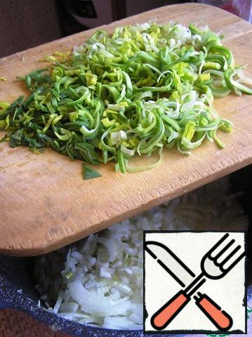 Peel and chop the onion into thin strips. Leek wash well and chop sticks. A lot of onions in unstable weather-the most!