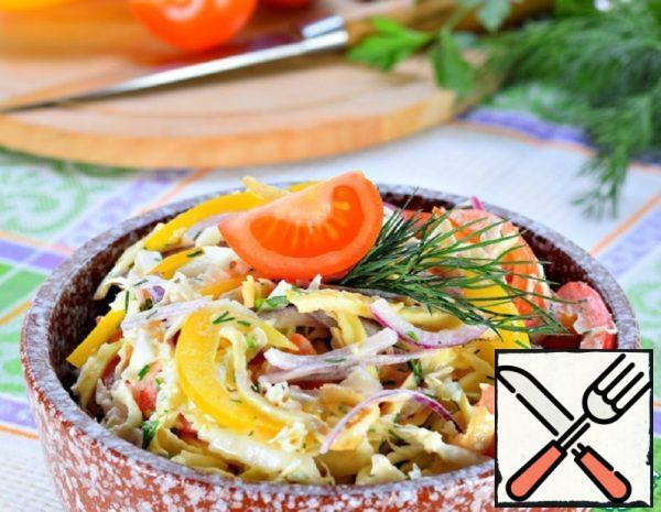 Vegetable Salad with Egg Pancake Recipe