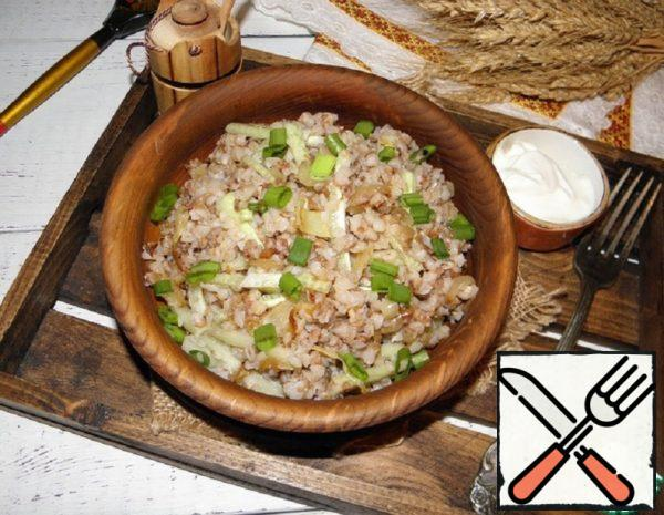 Buckwheat with Cucumber and Fried Onions Recipe