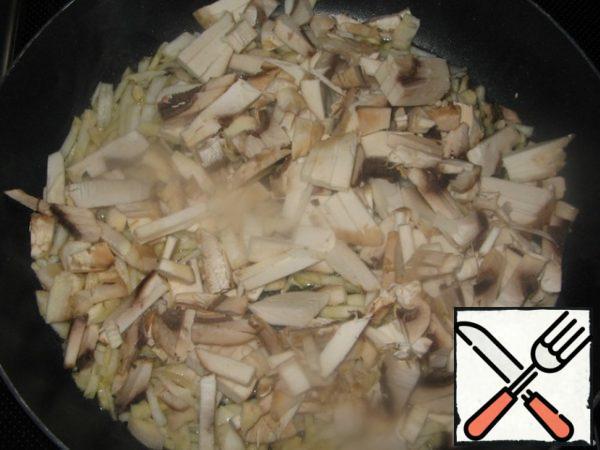 Add mushrooms, sliced into strips.