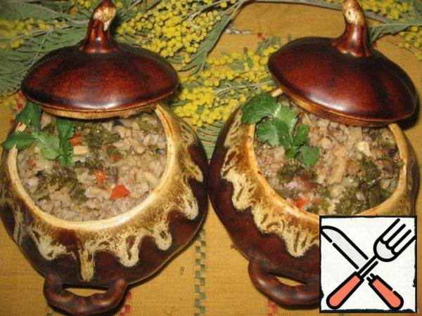 Buckwheat with Hearts and Mushrooms in Pots Recipe