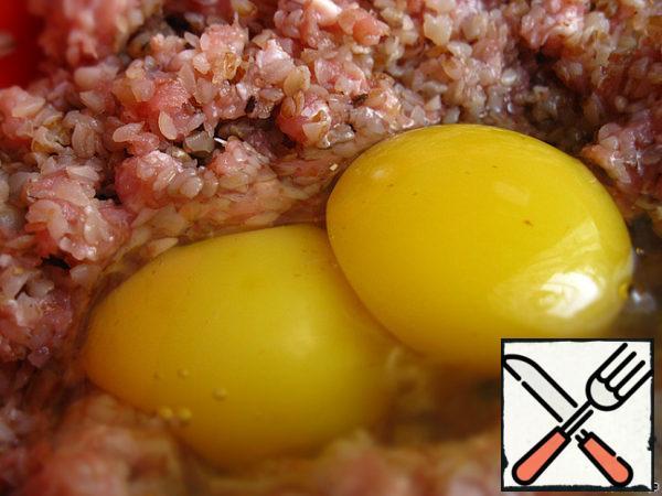 Break in beaten two eggs.