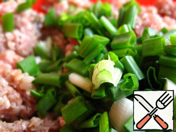 Add finely chop the green onions.