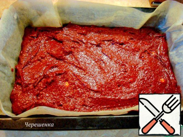 Bake in the form of (I have 20cm*30cm*5cm), covered with oiled parchment, preheated to 180 degrees oven for about 50 minutes. What flavors will haunt you for an hour, you can not even imagine!!! The smell of chocolate, spices ... Mmm!!! Divine!!!