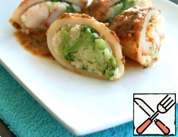 Squid Stuffed with Rice, Shrimp and Broccoli Recipe