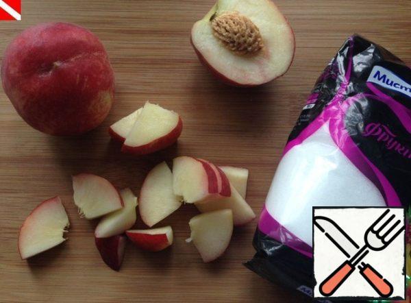 Meanwhile, cut into 2  peach.
