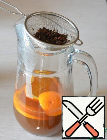 In a jug place the slices of orange, strain out there the cooled brewed tea, add the orange juice and pour kvas.