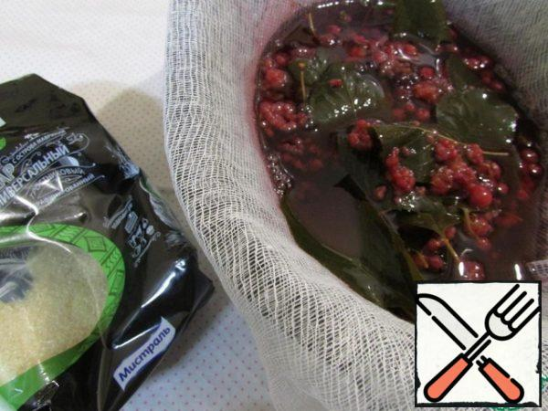 Cooled berry syrup strain through two layers of gauze, trying not to mash the berry.
