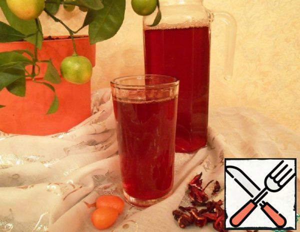 """Cold Tea """"Hibiscus with Kumquat and Ginger» Recipe"""