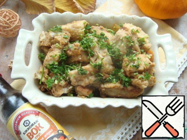 On top of the fish. Pour the remaining sauce after hot processing of fish and vegetables. Finely chop fresh parsley and sprinkle over the dish.