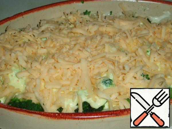 Sprinkle with grated cheese and microwave.