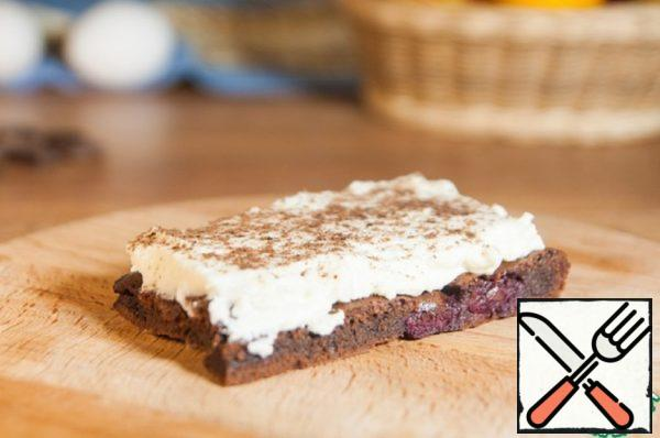 Brownies with Cherries and Cottage Cheese Cream Recipe