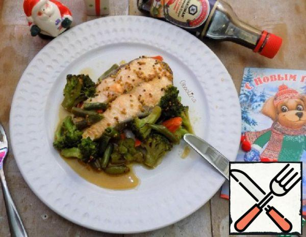 Salmon with Vegetables in Soy-Mustard Sauce Recipe