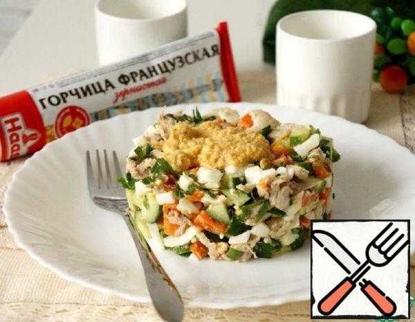 Salad with Chicken, Carrots and Mustard Dressing Recipe