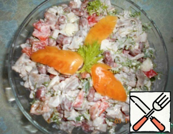 Salad with Chicken Stomachs and Beans Recipe