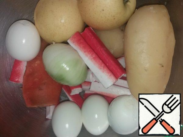 And this is foods for salad) potatoes, carrots and eggs to boil and clean, onions and apples just clean) Crabapple is also exempt from packaging)