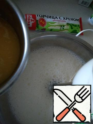 Sugar, salt, flour and baking powder mix. Butter melt and cool. Beat eggs with milk and mustard.