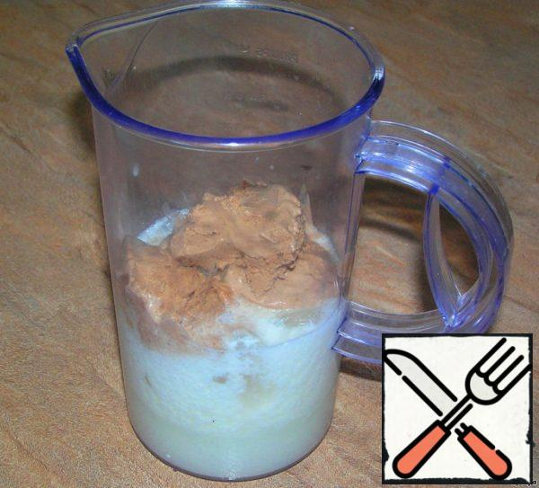 Mix all ingredients in a blender at high speed for 3-5 minutes. (Here I decided to add some milk and ice).