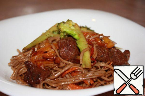 Buckwheat Noodles with Beef and Vegetables Recipe