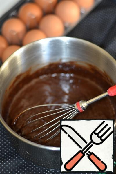 One by one add the eggs, carefully stirring with a whisk after each.