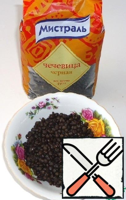 Black lentils  pour water, bring to a boil and cook for 15-20 minutes.