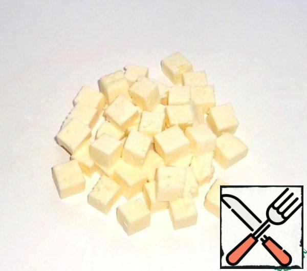 Cheese cut into cubes.