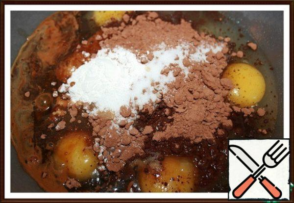 Combine eggs, cocoa, salt, baking powder, coffee and vanilla - mix until smooth.