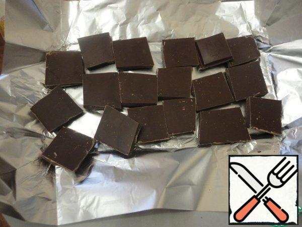 Add the broken chocolate.