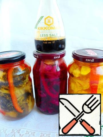 Close the top lids, cool and put in the refrigerator to marinate for 6-7 days.