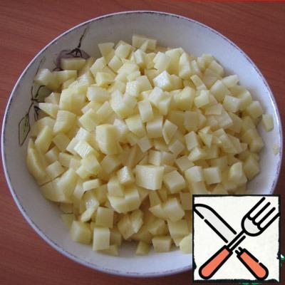 Cut potatoes into small cubes, cut broccoli too finely.