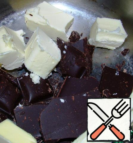 Butter and chocolate melt over low heat or in a water bath.